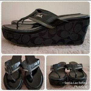 Coach Black Logo Sandals